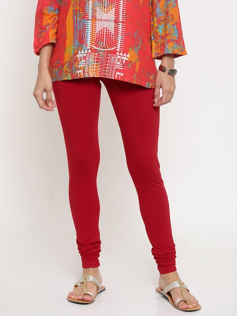 Global Desi Red Churidar Leggings