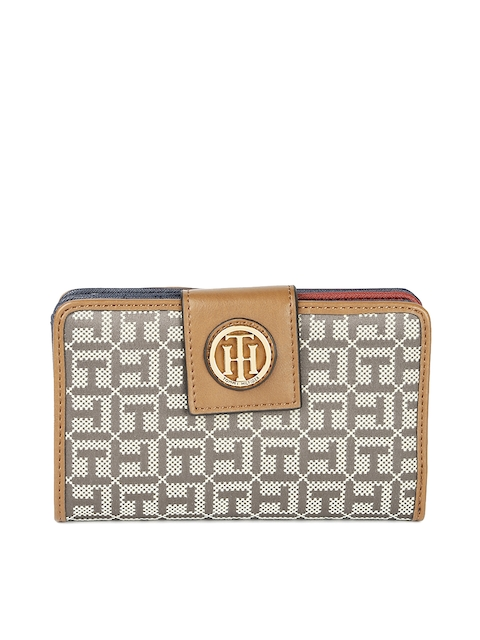 Tommy Hilfiger Women Beige Solid Two Fold Wallet