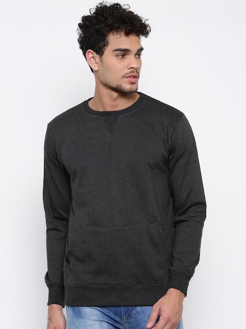 FIFTY TWO Men Charcoal Grey Solid Sweatshirt