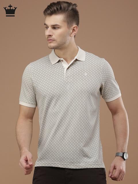 Louis Philippe Men Beige Printed Polo Collar T-shirt