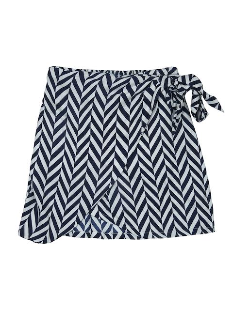 Gini and Jony Girls Navy Blue & White Printed A-Line Skirt