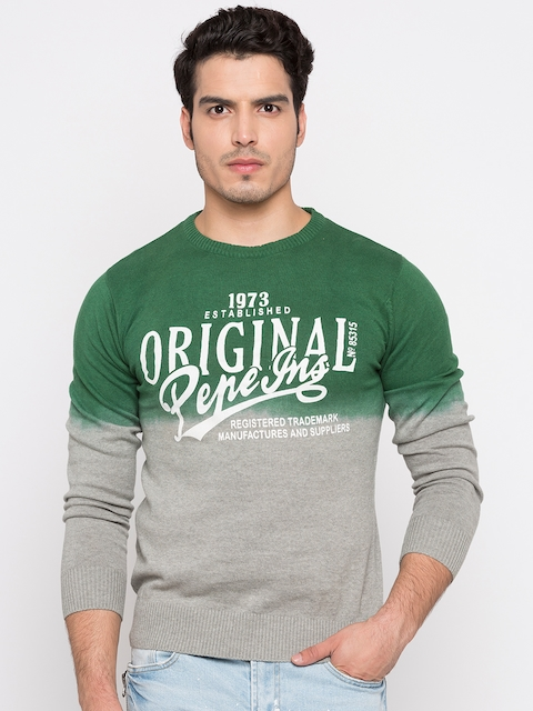 Pepe Jeans Men Grey & Green Solid Pullover Sweater