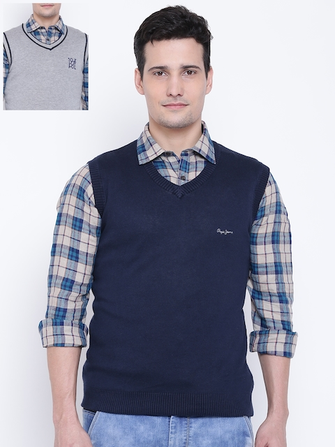 Pepe Jeans Men Navy Blue & Grey Melange Reversible Sweater Vest