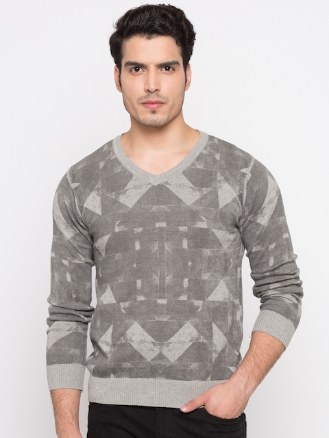 Pepe Jeans Men Grey Printed Pullover Sweater
