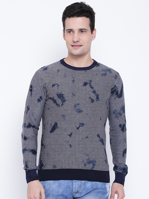 Pepe Jeans Men Grey Melange & Navy Striped Pullover