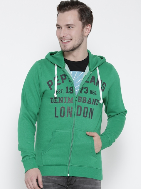 Pepe Jeans Men Green Printed Hooded Sweatshirt