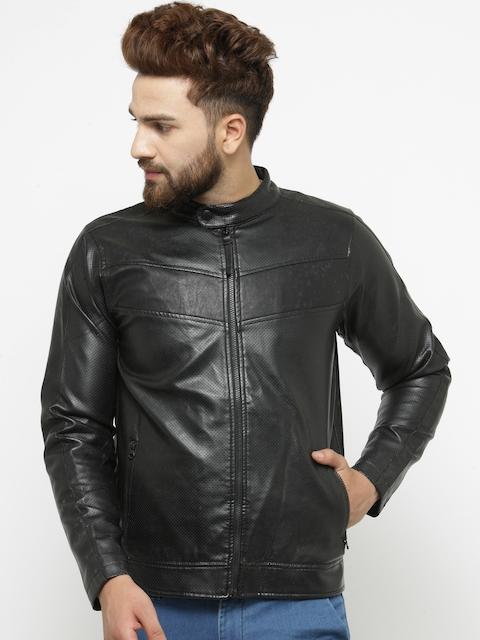 Pepe Jeans Men Black Solid Perforated Biker Jacket