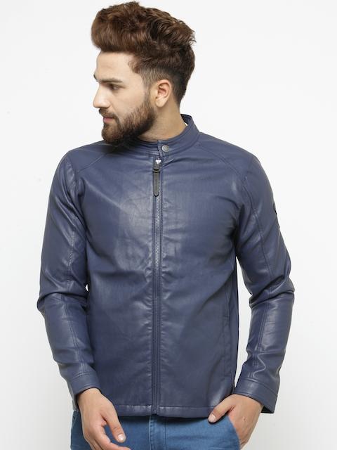 Pepe Jeans Men Blue Solid Faux Leather Biker Jacket