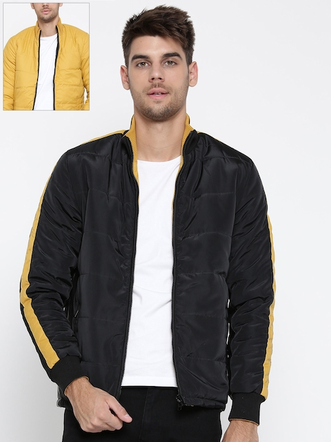 Pepe Jeans Men Black & Mustard Yellow Solid Reversible Quilted Jacket
