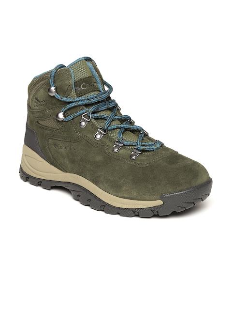 Columbia Women Olive Green Waterproof Suede Mid-Top Trekking Shoes