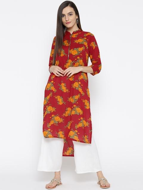 Jashn Women Red & Yellow Floral Print Crepe Straight Kurta