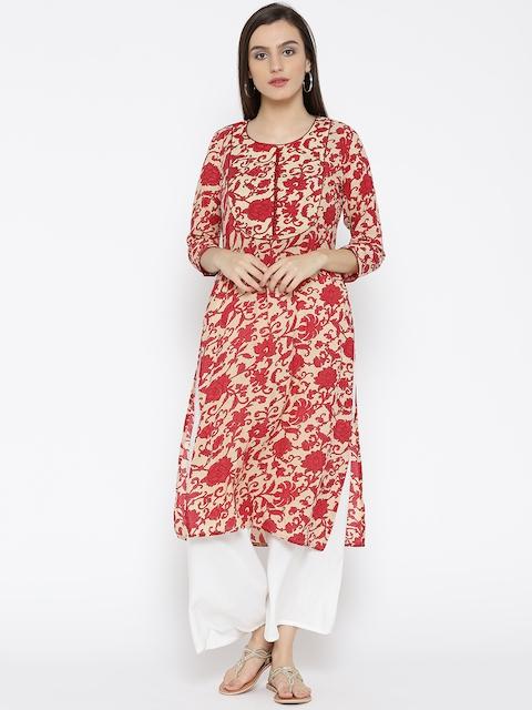 Jashn Women Beige & Red Printed Crepe Straight Kurta