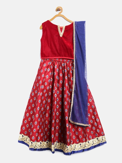 Yellow Kite Maroon Printed Lehenga Choli with Dupatta