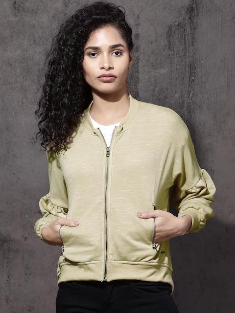 Roadster Women Beige Solid Sweatshirt