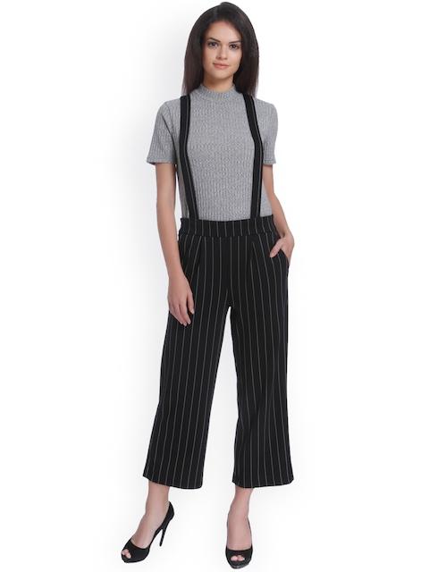 ONLY Women Black Regular Fit Striped Regular Trousers