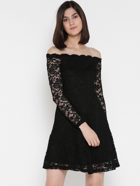 ONLY Women Black Lace Fit & Flare Dress