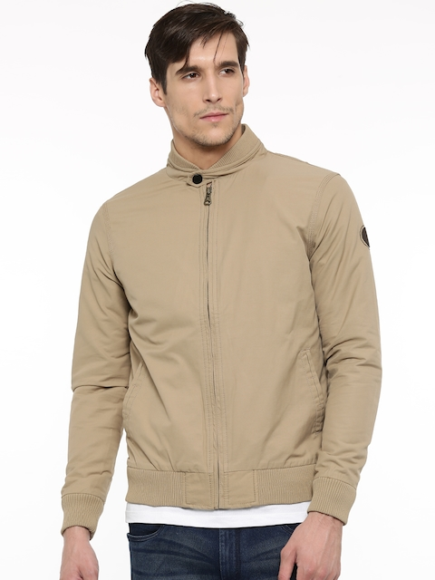 t-base Men Beige Solid Bomber