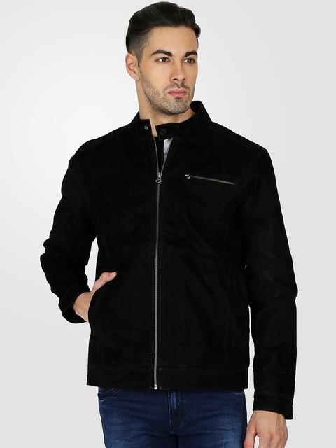 t-base Men Black Solid Nubuck Leather Jacket