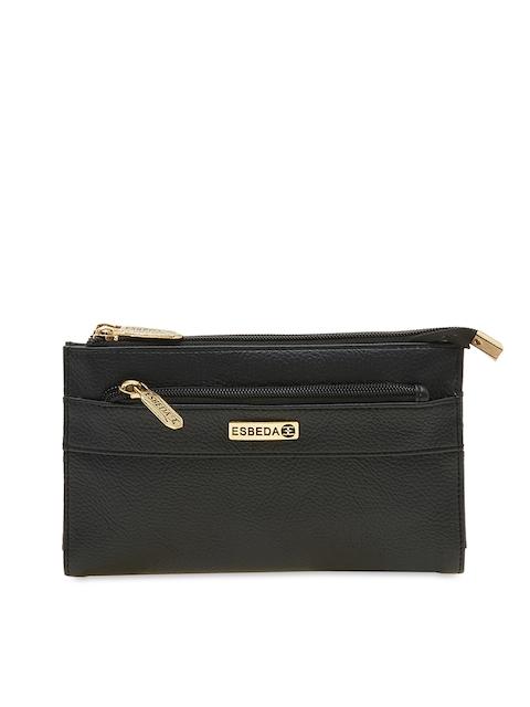 ESBEDA Women Black Solid Two Fold Wallet