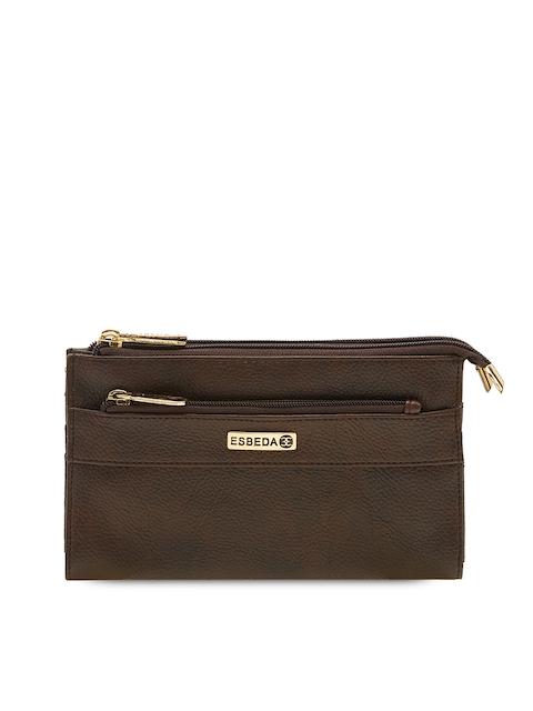 ESBEDA Women Brown Solid Two Fold Wallet
