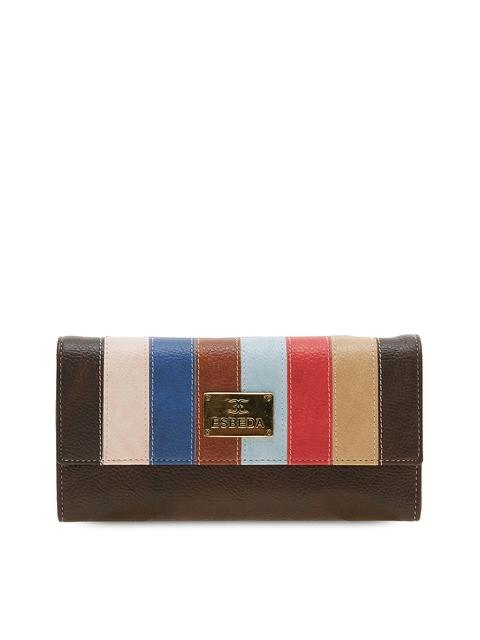 ESBEDA Women Brown Striped Two Fold Wallet