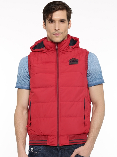 t-base Men Red Solid Hooded Puffer Jacket