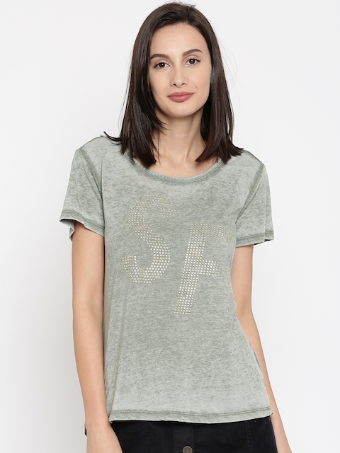 SF JEANS by Pantaloons Women Grey Melange Embellished Top