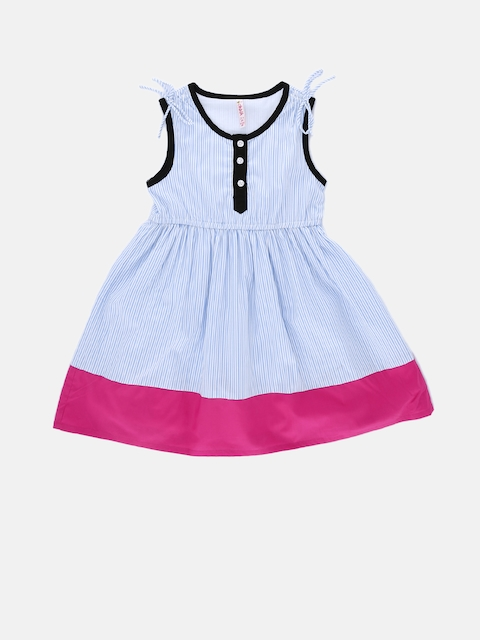 CHALK by Pantaloons Girls Blue Striped Fit and Flare Dress