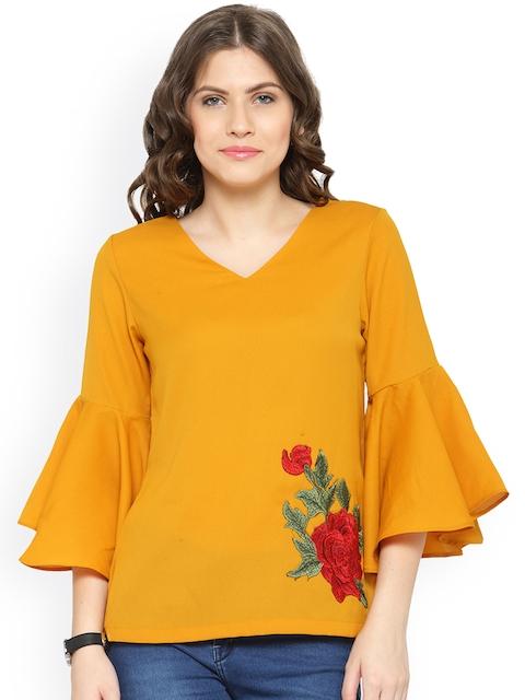 plusS Women Mustard Yellow Solid Top