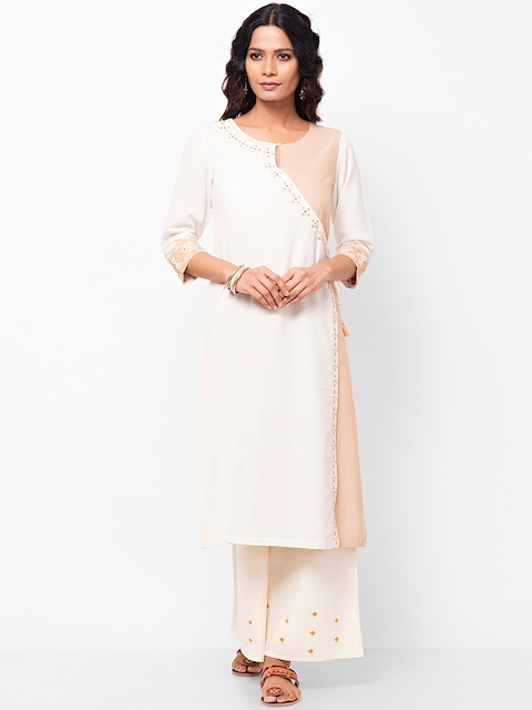 Fabindia Women Off-White & Beige Embroidered Angrakha Straight Kurta