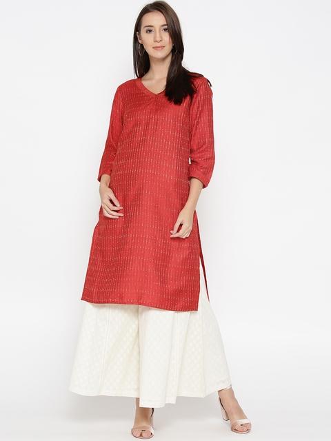 Fabindia Women Red Woven Design Straight Kurta
