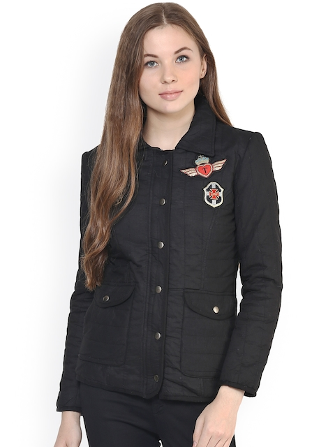 The Vanca Women Black Solid Quilted Jacket