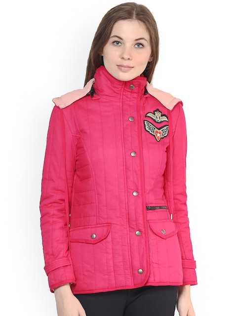 The Vanca Women Pink Solid Quilted Jacket