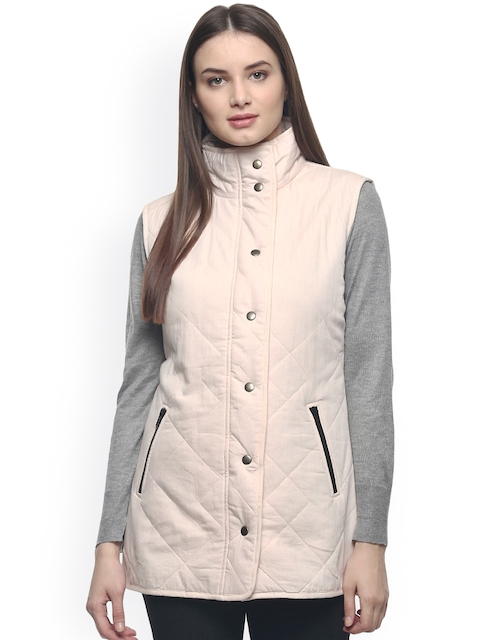 The Vanca Women Peach-Coloured Solid Quilted Jacket