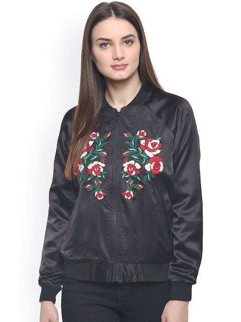 The Vanca Women Black Embroidered Bomber Jacket