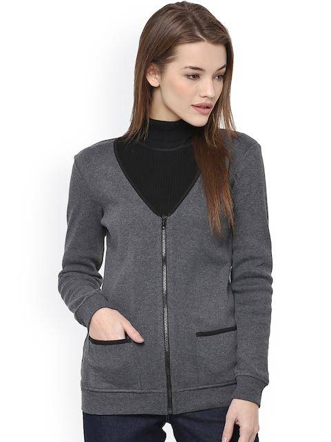 The Vanca Women Charcoal Grey Solid Open Front Jacket