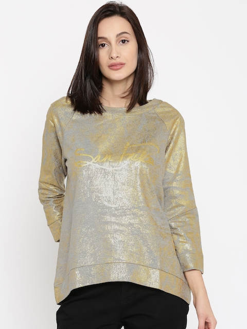 SF JEANS by Pantaloons Women Grey & Gold-Toned Printed Sweatshirt
