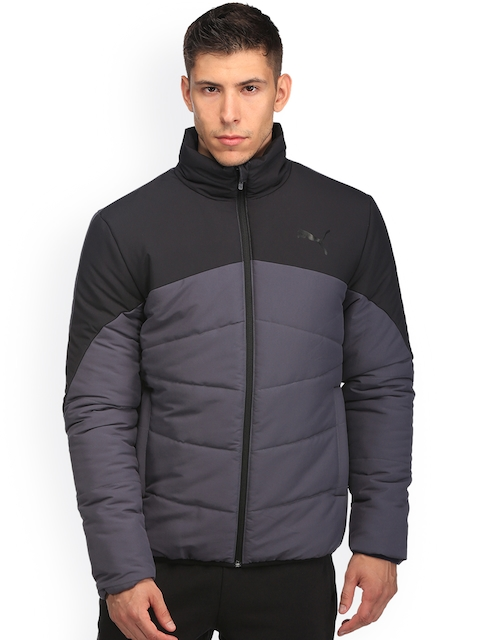 Puma Men Grey Solid ESS Padded Jacket