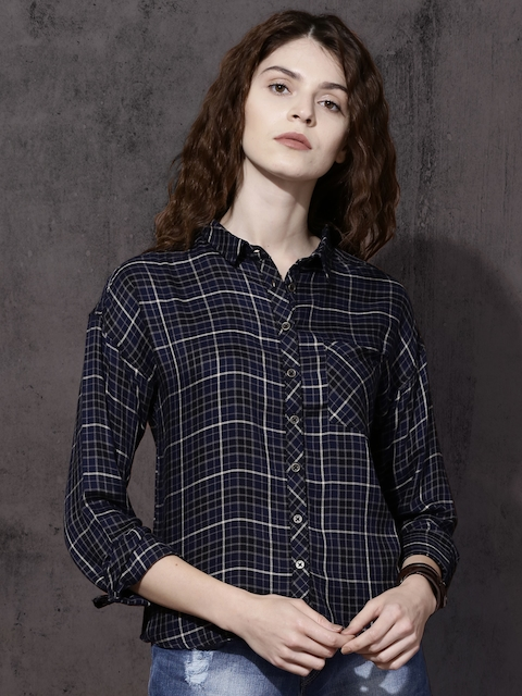 Roadster Women Black & Navy Blue Regular Fit Checked Casual Shirt