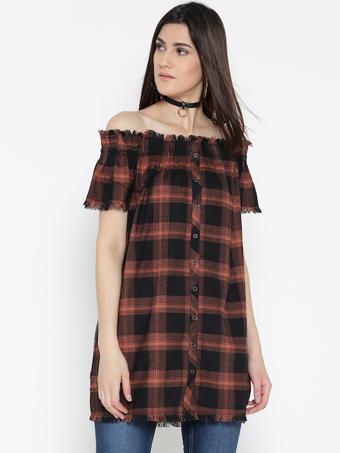 Roadster Women Black & Orange Checked Bardot Top