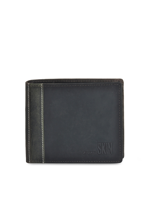 Second SKIN Men Black Solid Leather Two Fold Wallet