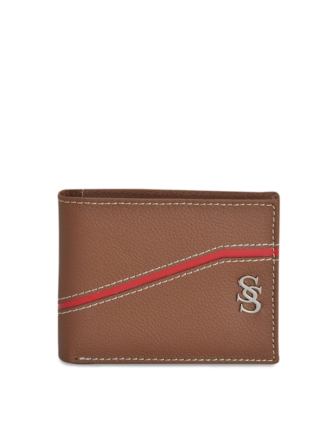 Second SKIN Men Tan Solid Leather Two Fold Wallet