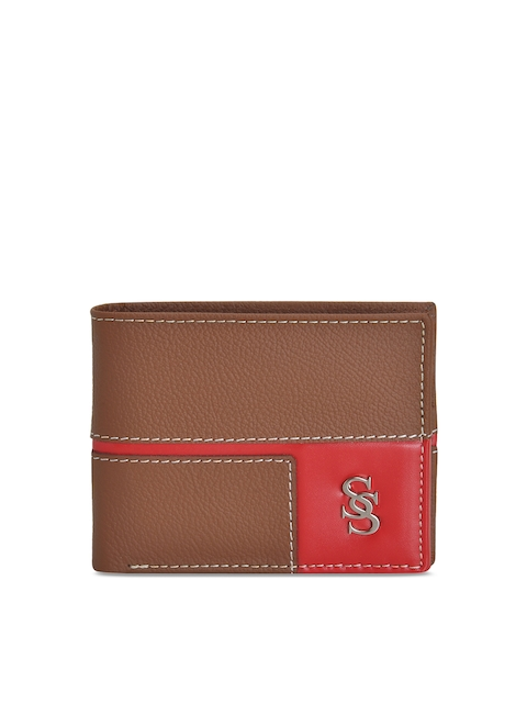 Second SKIN Men Tan & Red Colourblocked Leather Two Fold Wallet
