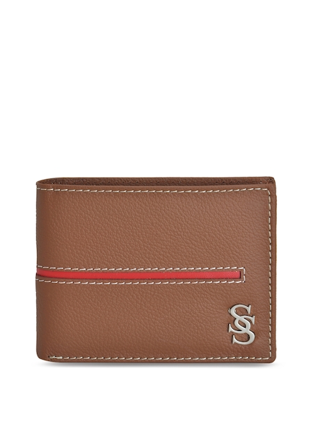 Second SKIN Men Tan & Red Solid Two Fold Wallet