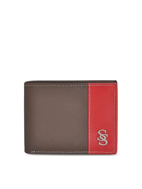 Second SKIN Men Brown & Red Solid Colourblocked Leather Two Fold Wallet