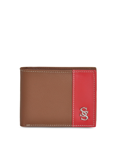 Second SKIN Men Tan & Red Solid Colourblocked Leather Two Fold Wallet