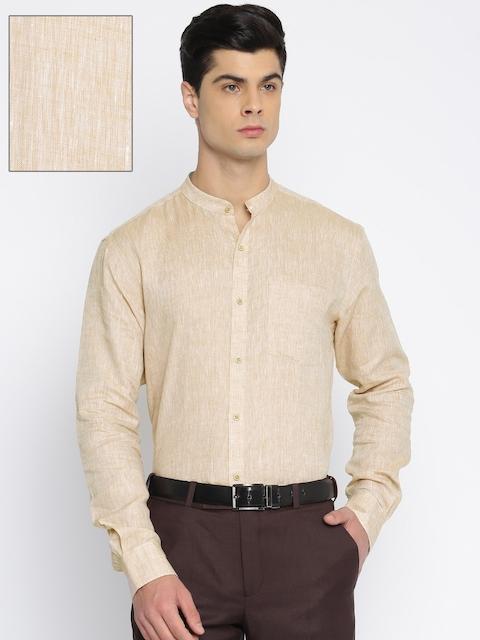 Park Avenue Men Beige Slim Fit Solid Linen Formal Shirt