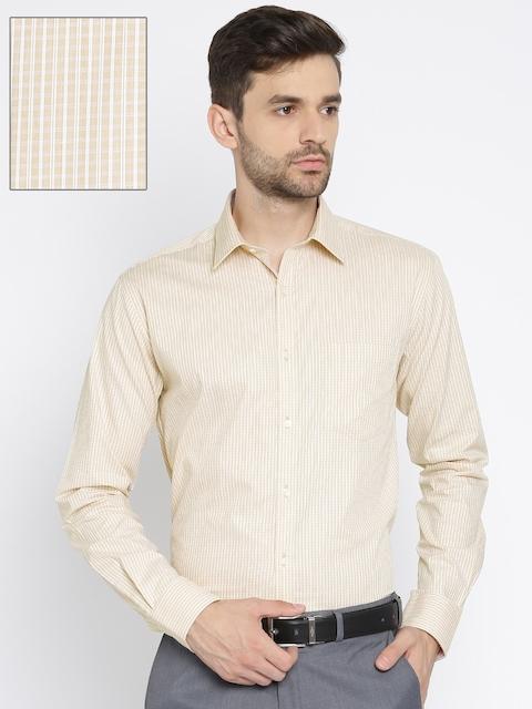Park Avenue Men Beige Slim Fit Checked Formal Shirt