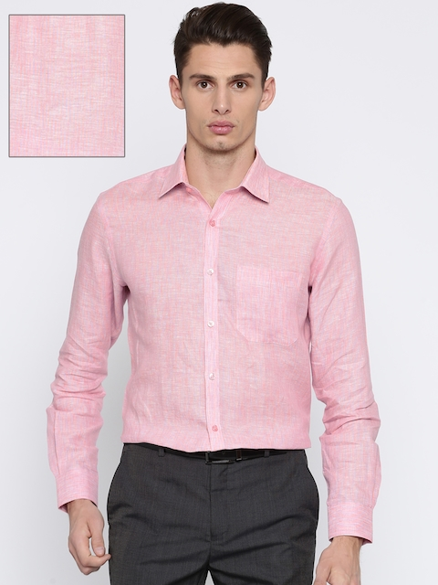 Raymond Men Pink Linen Contemporary Regular Fit Striped Formal Shirt