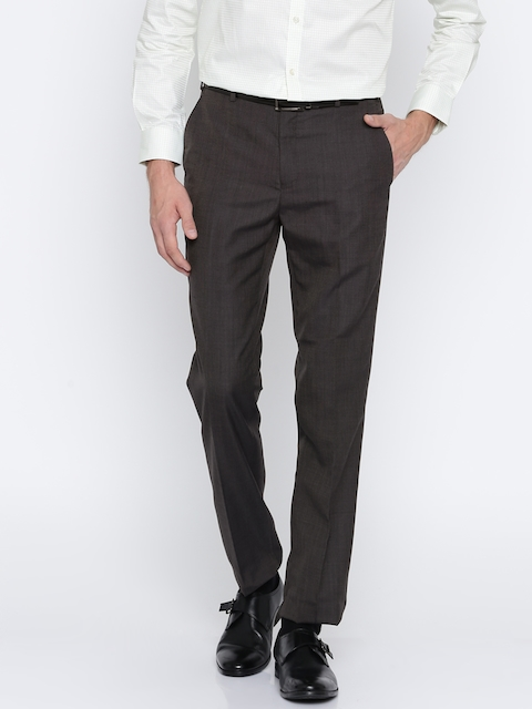 Raymond Men Grey Regular Fit Solid Formal Trousers